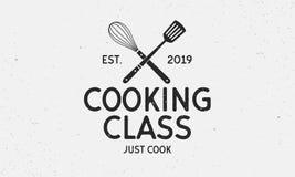 Logotipo de la clase de cocina del vector Emblema de la vendimia Etiqueta retra para la escuela culinaria, estudio de la comida,  libre illustration