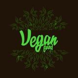 Logotipo de la comida de Vegana con la mandala Stock de ilustración