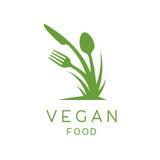 Logotipo de la comida del vegano del icono de la planta, de la bifurcación, del cuchillo y de la cuchara libre illustration