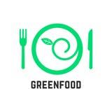 Logotipo de la comida verde con vajilla Foto de archivo