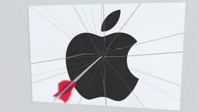 Logotipo de la compañía de APPLE INC que es agrietado por la flecha del tiro al arco Animación editorial conceptual de los proble stock de ilustración