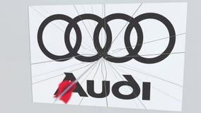Logotipo de la compañía de AUDI que es golpeado por la flecha del tiro al arco Animación editorial conceptual de la crisis del ne ilustración del vector