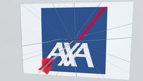 Logotipo de la compañía de AXA que es golpeado por la flecha del tiro al arco Animación editorial conceptual de la crisis del neg stock de ilustración