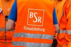 Logotipo de la compañía BSR de Berlin Waste Management y de la limpieza de la ciudad imagen de archivo