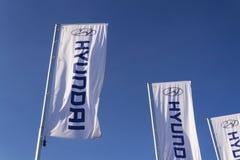Logotipo de la compañía de Hyundai delante del edificio de la representación Fotos de archivo