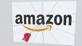 Logotipo de la compañía del AMAZONAS que es agrietado por la flecha del tiro al arco Animación editorial conceptual de los proble ilustración del vector