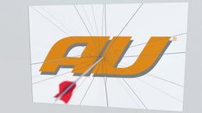 Logotipo de la compañía del AU que es agrietado por la flecha del tiro al arco Animación editorial conceptual de los problemas co libre illustration