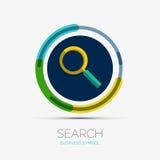Logotipo de la compañía del icono de la búsqueda, diseño mínimo Imágenes de archivo libres de regalías