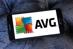 Logotipo de la compañía de las tecnologías de AVG Imagenes de archivo