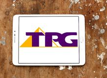 Logotipo de la compañía de las telecomunicaciones de TPG imagenes de archivo