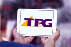 Logotipo de la compañía de las telecomunicaciones de TPG fotografía de archivo libre de regalías