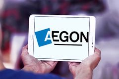 Logotipo de la compañía de los servicios financieros de Aegon foto de archivo libre de regalías