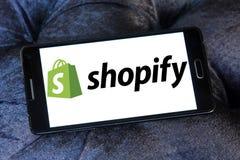Logotipo de la compañía de Shopify Imagen de archivo