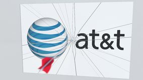 Logotipo de la compañía de AT&T que es agrietado por la flecha del tiro al arco Animación editorial conceptual de los problemas c libre illustration