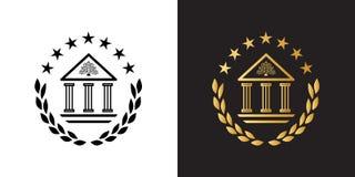 Logotipo de la cresta con el edificio de la academia, la guirnalda del laurel y las estrellas clásicos stock de ilustración