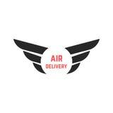 Logotipo de la entrega aérea con las alas negras Imagen de archivo libre de regalías