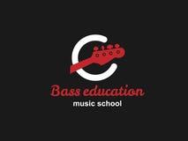 Logotipo de la escuela de la guitarra baja Fotos de archivo