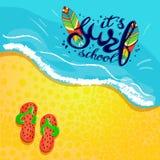 Logotipo de la escuela, emblema o plantilla del diseño de la etiqueta que practica surf con el tablero de resaca Fotos de archivo libres de regalías