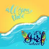 Logotipo de la escuela, emblema o plantilla del diseño de la etiqueta que practica surf con el tablero de resaca Imagen de archivo libre de regalías