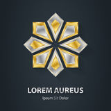 Logotipo de la estrella de la plata y del oro Icono del premio 3d Temporeros metálicos del logotipo Imagenes de archivo