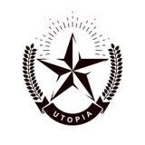 Logotipo de la estrella del vector compuesto usando la guirnalda del laurel Totalitarismo como el poder malvado, propaganda ideol ilustración del vector