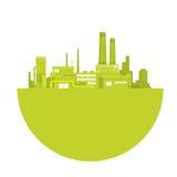 Logotipo de la fábrica del día del ambiente mundial de la planta verde de la silueta Fotos de archivo