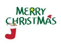 Logotipo de la Feliz Navidad con el sombrero de santa, estrella amarilla, calcetín del res, galleta del pan de jengibre, caramelo libre illustration