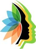 Logotipo de la flor de las caras stock de ilustración