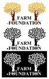 Logotipo de la fundación de la granja con los árboles anaranjados ilustración del vector