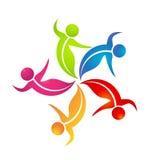 Logotipo de la gente de la danza del trabajo en equipo Imagenes de archivo