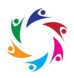 Logotipo de la gente de Swoosh del trabajo en equipo Foto de archivo libre de regalías