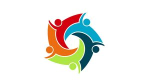 Logotipo de la gente Símbolo del trabajo en equipo del grupo de cinco personas en un círculo gráfico del movimiento de la resoluc