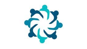 Logotipo de la gente Símbolo del trabajo en equipo del grupo de ocho personas en un círculo gráfico del movimiento de la resoluci
