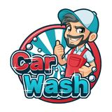 Logotipo de la historieta del túnel de lavado con el hombre que usa el delantal del túnel de lavado ilustración del vector