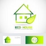 Logotipo de la hoja del verde de la casa de las propiedades inmobiliarias de Eco stock de ilustración