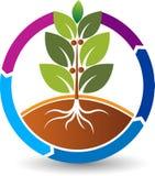Logotipo de la hoja de la naturaleza del círculo stock de ilustración