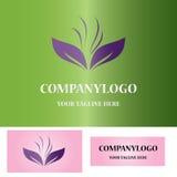 Logotipo de la hoja y de la hierba Imágenes de archivo libres de regalías