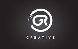 Logotipo de la letra circular de GR con el diseño y el negro Backg del cepillo del círculo Fotos de archivo libres de regalías