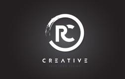 Logotipo de la letra circular de RC con el diseño y el negro Backg del cepillo del círculo ilustración del vector