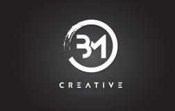Logotipo de la letra circular del BM con el diseño y el negro Backg del cepillo del círculo ilustración del vector