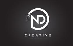 Logotipo de la letra circular del ND con el diseño y el negro Backg del cepillo del círculo Imagen de archivo libre de regalías