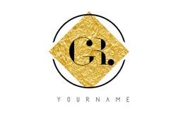 Logotipo de la letra de GR con textura de oro de la hoja Foto de archivo