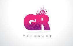 Logotipo de la letra de GR G R con el color y las partículas púrpuras rosados Dots Des Foto de archivo libre de regalías