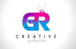 Logotipo de la letra de GR G R con la textura rosada azul rota rota Desig Imagenes de archivo