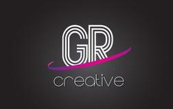 Logotipo de la letra de GR G R con las líneas diseño y la púrpura Swoosh Fotos de archivo libres de regalías