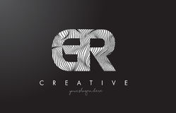 Logotipo de la letra de GR G R con las líneas vector de la cebra del diseño de la textura Fotos de archivo