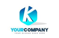 Logotipo de la letra de K Diseño moderno de la forma del hexágono stock de ilustración