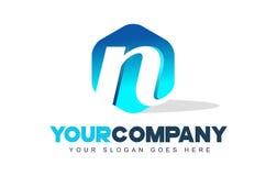 Logotipo de la letra de N Diseño moderno de la forma del hexágono ilustración del vector