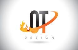 Logotipo de la letra de OT O T con las llamas diseño del fuego y la naranja Swoosh Fotos de archivo