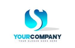 Logotipo de la letra de S Diseño moderno de la forma del hexágono stock de ilustración